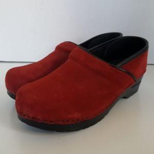Dansko Red Suede Leather Slip On Clogs